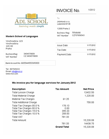 invoices, receipts using online language school admin system, Simple invoice